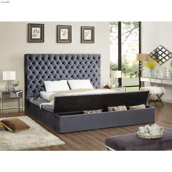 Bliss Queen Grey Bed Room Scene open