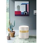 Hailey Cream Velvet Ottoman/Stool - Gold Band
