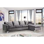 Naomi Grey/Chrome Velvet Upholstered Sectional