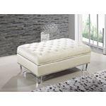 Lucas Cream Velvet Upholstered Tufted Ottoman - 2