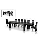 Modrest Maxi Modern Black Oak Dining Table Open
