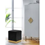 Jax Black Velvet Ottoman/Stool - Gold Base