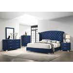 Melody Rectangular Pacific Blue Upholstered Mirr-2