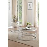 Brassica 34 inch Round White Faux Marble and Sil-2