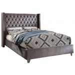 Aiden Grey Velvet Upholstered Tufted Platform Bed