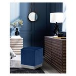 Jax Navy Velvet Ottoman/Stool - Chrome Base