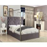 Porter Grey Velvet Upholstered Tufted Canopy Bed