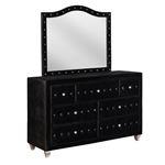 Deanna Black Velvet Button Tufted Mirror 206104-2