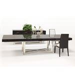 Maximo X-Base Pedestal Grey Oak Dining Table in Set