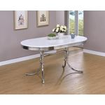 Retro Oval White and Chrome Dining Table 2065 in room