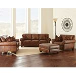 Silverado Caramel Brown Leather Love Seat-2