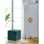 Jax Green Velvet Ottoman/Stool - Gold Base