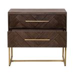 Mosaic 2 Drawer Night Stand in Rustic Java Open2
