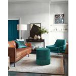 Teddy Green Velvet Upholstered Ottoman/Stool - 2