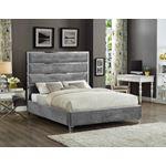 Zuma Grey Velvet Upholstered Platform Bed