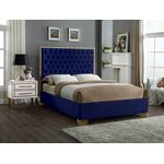 Lana Navy Velvet Upholstered Tufted Platform Bed