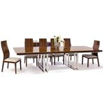 Galway Double Pedestal Walnut Lacquer Dining Table by Sharelle furnishings in set