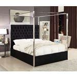 Porter Black Velvet Upholstered Tufted Canopy Bed
