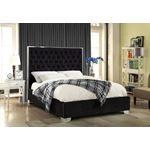 Lexi Black Velvet Upholstered Tufted Platform Bed
