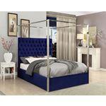 Porter Navy Velvet Upholstered Tufted Canopy Bed