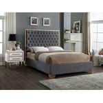 Lana Grey Velvet Upholstered Tufted Platform Bed