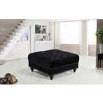 Sabrina Black Velvet Upholstered Tufted Ottoman -2