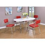 Retro Oval White and Chrome Dining Table 2065 with black