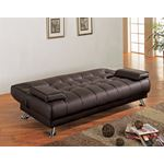 Pierre Brown Tufted Sofa Bed 300148 open