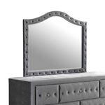 Deanna Grey Velvet Button Tufted Mirror 205104-2