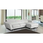 Sparta Mini White Leather Sectional in Room