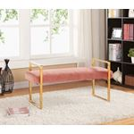 Olivia Pink Velvet Upholstered Bench - 2