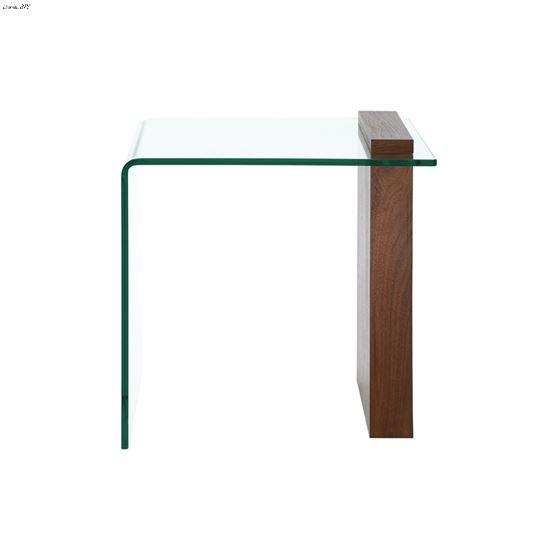 Buono Walnut Veneer/ Clear Glass End Table