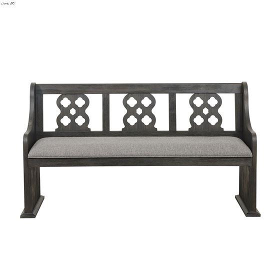 Arasina Distressed Grey Carved Back Dining Bench 5559N-14A front