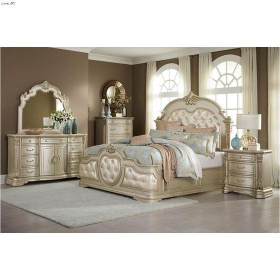 Antoinetta Champagne Queen 4pc Bedroom Set in Room