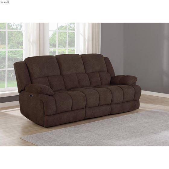 Waterbury Brown Power Recliner Sofa with Drop Do-2
