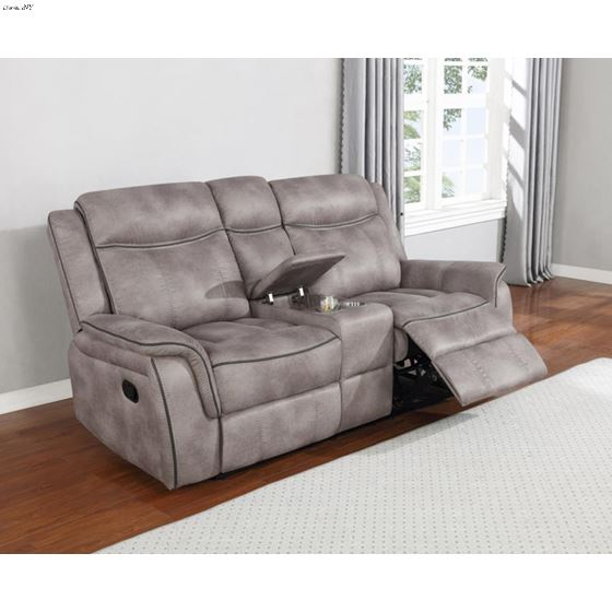 Lawrence Taupe Fabric Reclining Loveseat with Co-2