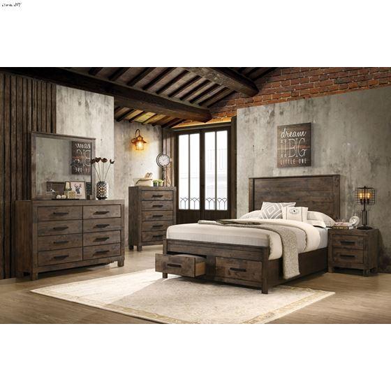 Woodmont Rustic Golden Brown Queen Storage Bed 2-2