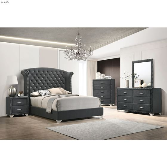 Melody Rectangular Pacific Grey Upholstered Mirr-2