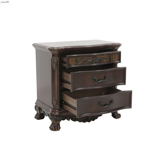 Deryn Park Cherry 3 Drawer Nightstand 2243-4 by Homelegance open