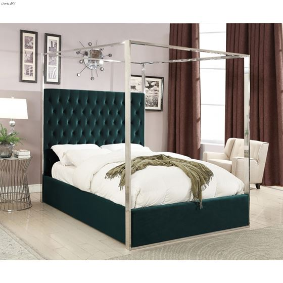 Porter Green Velvet Upholstered Tufted Canopy Bed