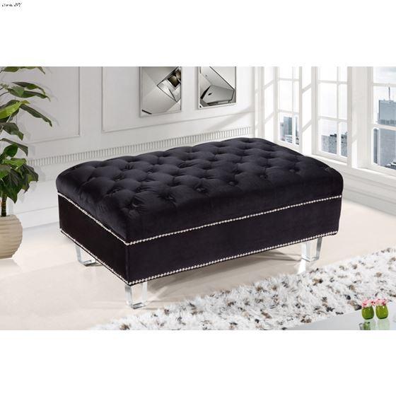 Lucas Black Velvet Upholstered Tufted Ottoman - 2