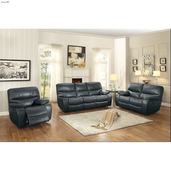 Pecos Grey Leather Reclining Living Room 8480GRY-3