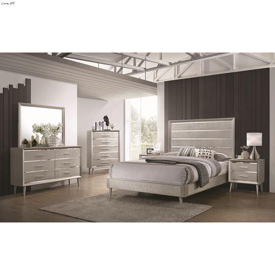 Ramon Metallic Sterling Queen Panel Bed 222701Q-2
