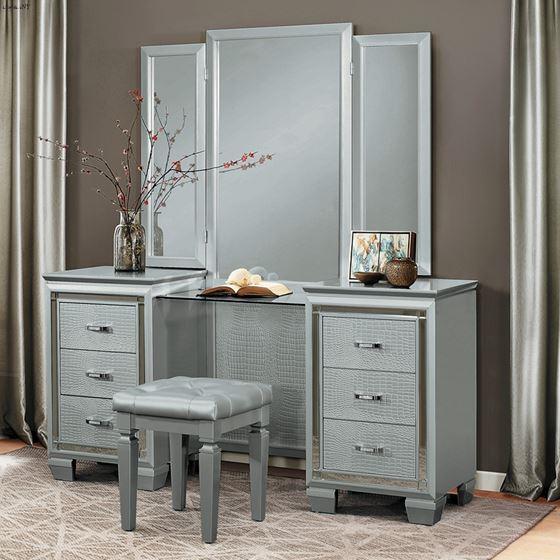 Allura Silver 6 Drawer Vanity Dresser with Mirro-2