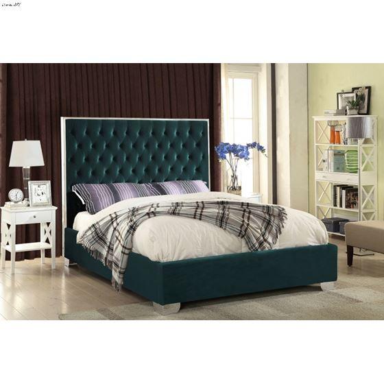 Lexi Green Velvet Upholstered Tufted Platform Bed