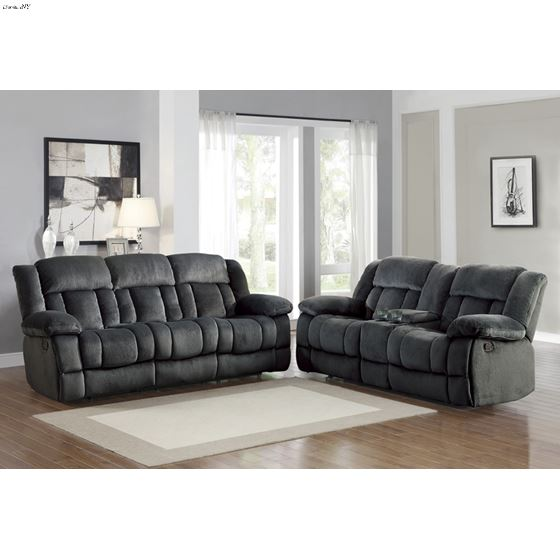 Laurelton Charcoal Reclining Sofa 9636CC-3 in set
