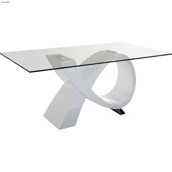 Modern 989 White Base Glass Top Dining Table side