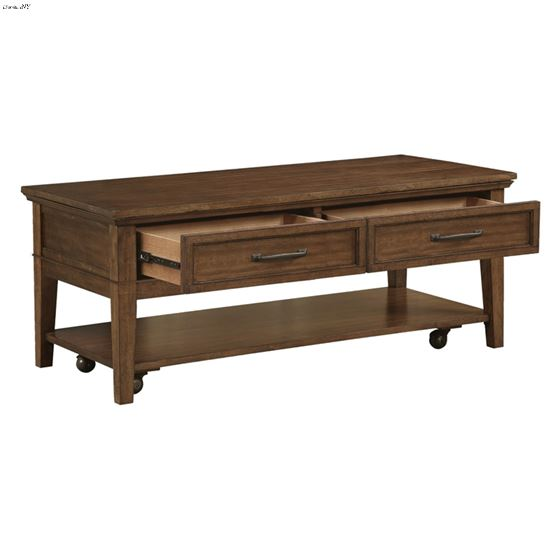 Whitley Walnut Brown Storage Coffee Table with C-2