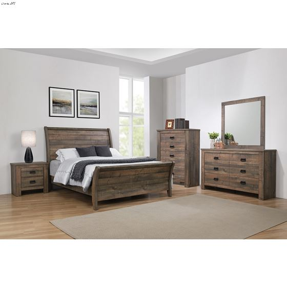 Frederick Weathered Oak Queen Sleigh Bed 222961Q-2