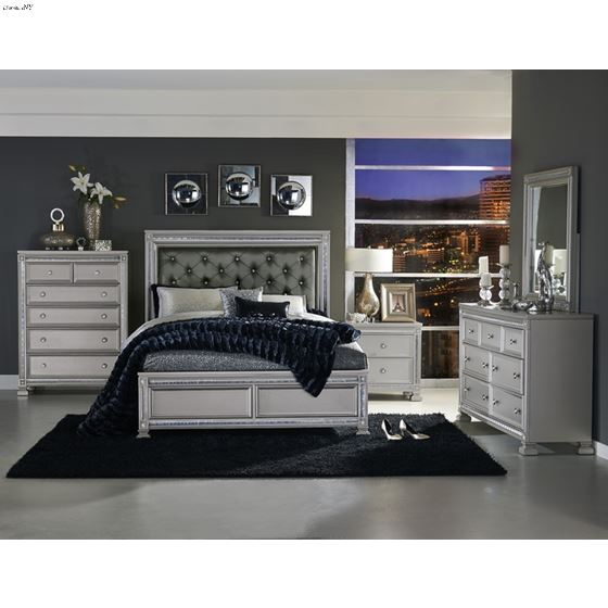 The Bevelle Collection Tufted King Bed in room